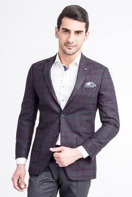 Erkek Giyim - Lacivert 50 Beden Slim Fit Ekose Ceket
