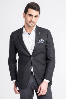 Erkek Giyim - Siyah 52 Beden Slim Fit Ekose Ceket