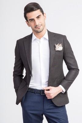 Erkek Giyim - KOYU KAHVE 48 Beden Slim Fit Yünlü Kareli Ceket