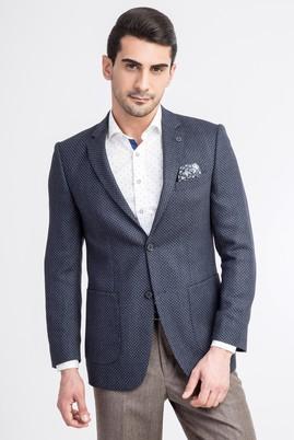 Erkek Giyim - Lacivert 46 Beden Slim Fit Yünlü Kuşgözü Ceket