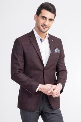 Erkek Giyim - Bordo 46 Beden Slim Fit Ekose Ceket