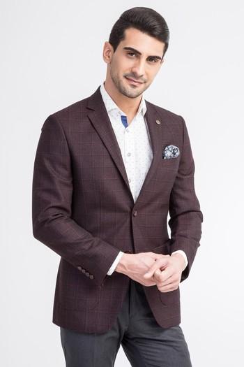 Erkek Giyim - Slim Fit Yünlü Ekose Ceket