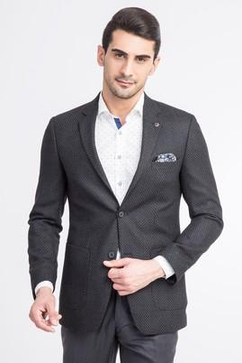 Erkek Giyim - Antrasit 46 Beden Slim Fit Kuşgözü Ceket