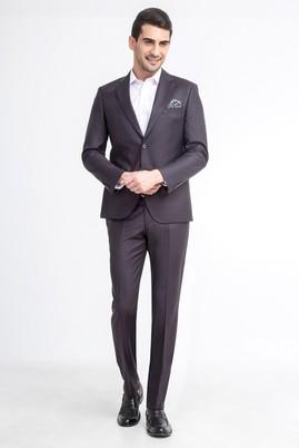 Erkek Giyim - Bordo 48 Beden Slim Fit Çizgili Takım Elbise