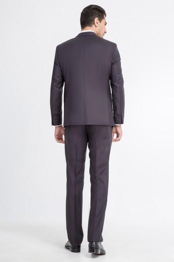 Erkek Giyim - Slim Fit Çizgili Yünlü Takım Elbise