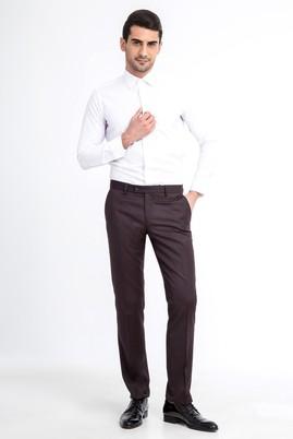 Erkek Giyim - KOYU KAHVE 48 Beden Süper Slim Fit Flanel Pantolon
