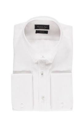 Erkek Giyim - Beyaz L Beden Uzun Kol Slim Fit Manşetli Desenli Gömlek