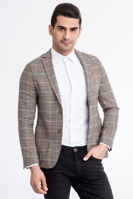 Erkek Giyim - Kahve 52 Beden Slim Fit Kareli Ceket