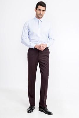 Erkek Giyim - Bordo 48 Beden Yünlü Flanel Pantolon