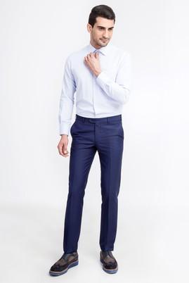 Erkek Giyim - Mavi 48 Beden Slim Fit Desenli Pantolon
