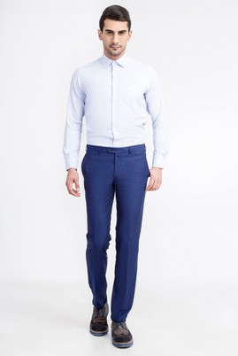 Erkek Giyim - Mor 48 Beden Slim Fit Desenli Pantolon