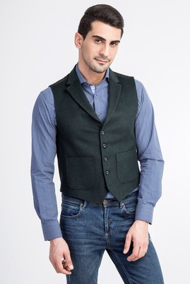 Erkek Giyim - KOYU YESİL 48 Beden Mono Yaka Yelek