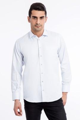 Erkek Giyim - Açık Mavi XXL Beden Uzun Kol Regular Fit Kareli Gömlek