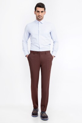 Erkek Giyim - KİREMİT 46 Beden Süper Slim Fit Flanel Pantolon