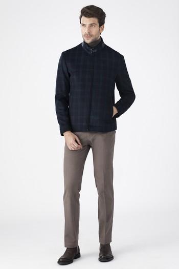 Erkek Giyim - Ekose Kaşe Yün Mont