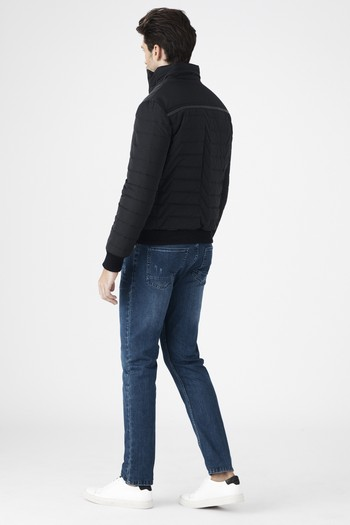 Erkek Giyim - Kapitone Ribanalı Bonded Mont