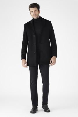 Erkek Giyim - Siyah 58 Beden Slim Fit Kaşe Yün Kaban
