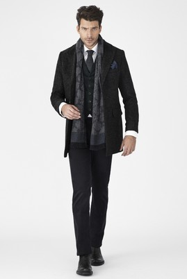 Erkek Giyim - Antrasit 62 Beden Mono Yaka Yünlü Palto