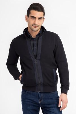 Erkek Giyim - Lacivert L Beden Dik Yaka Fermuarlı Sweatshirt