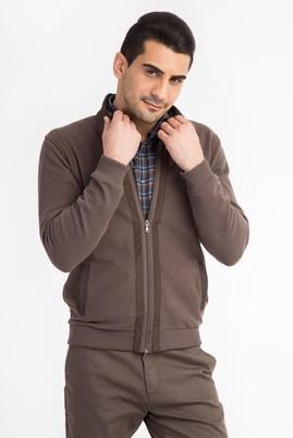 Erkek Giyim - VİZON L Beden Dik Yaka Fermuarlı Sweatshirt
