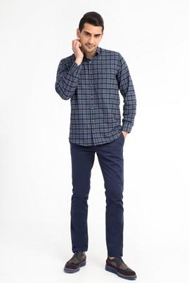 Erkek Giyim - Mavi 48 Beden Slim Fit Saten Pantolon