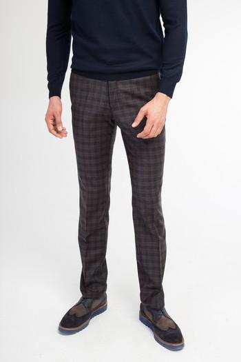 Erkek Giyim - Süper Slim Fit Yün Flanel Pantolon