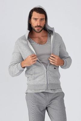 Erkek Giyim - Orta füme M Beden Kapüşonlu Slim Fit Sweat / Mont