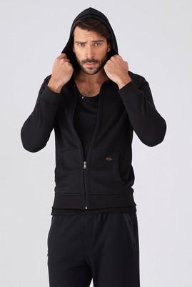 Erkek Giyim - Siyah M Beden Kapüşonlu Slim Fit Sweat / Mont