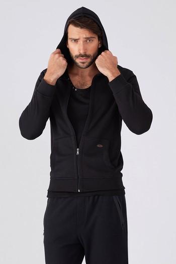 Erkek Giyim - Kapüşonlu Slim Fit Sweat / Mont