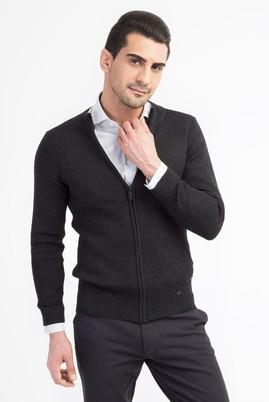 Erkek Giyim - Antrasit XL Beden Yünlü Slim Fit Fermuarlı Hırka