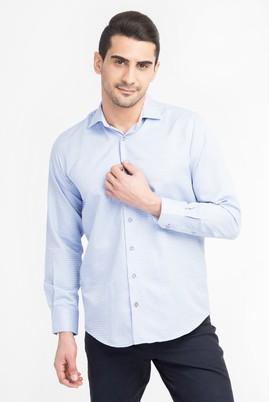 Erkek Giyim - Mavi XXL Beden Uzun Kol Klasik Desenli Gömlek
