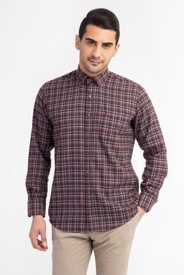 Erkek Giyim - Bordo L Beden Uzun Kol Oduncu Gömlek