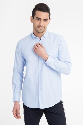 Erkek Giyim - Açık Mavi XXL Beden Uzun Kol Oxford Gömlek