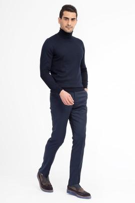 Erkek Giyim - Petrol 50 Beden Yünlü Flanel Pantolon