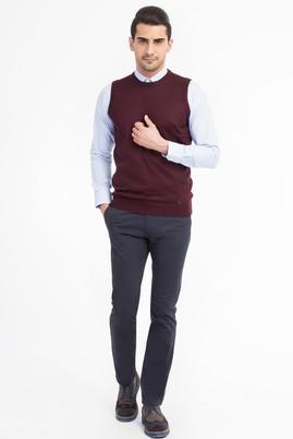 Erkek Giyim - Lacivert 52 Beden Slim Fit Saten Pantolon