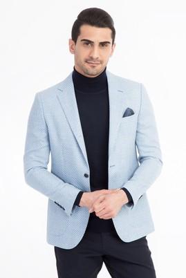 Erkek Giyim - Açık Mavi 48 Beden Yünlü Klasik Kuşgözü Ceket