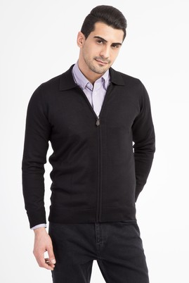 Erkek Giyim - Siyah 3X Beden Polo Yaka Fermuarlı Hırka