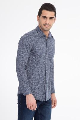 Erkek Giyim - Lacivert XS Beden Uzun Kol Desenli Slim Fit Gömlek