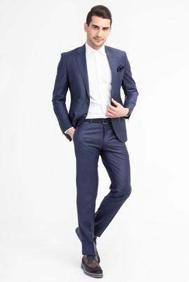 Erkek Giyim - Mavi 46 Beden Slim Fit Yünlü Çizgili Takım Elbise
