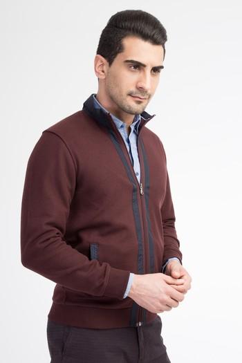 Erkek Giyim - Dik Yaka Fermuarlı Sweatshirt