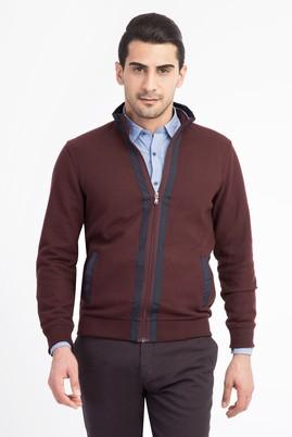 Erkek Giyim - Bordo L Beden Dik Yaka Fermuarlı Sweatshirt