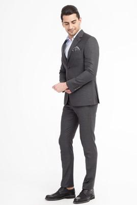 Erkek Giyim - Füme Gri 44 Beden Slim Fit Kuşgözü Takım Elbise
