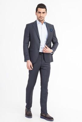 Erkek Giyim - KOYU MAVİ 52 Beden Slim Fit Kuşgözü Takım Elbise