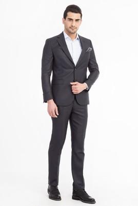 Erkek Giyim - Füme Gri 60 Beden Ekose Takım Elbise