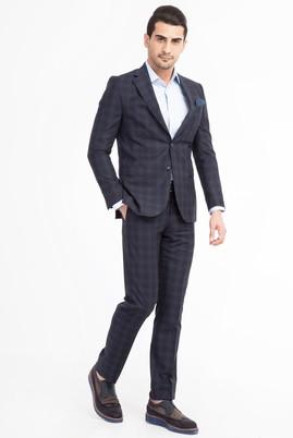 Erkek Giyim - Lacivert 60 Beden Ekose Takım Elbise