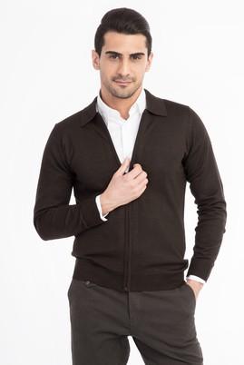 Erkek Giyim - Kahve L Beden Polo Yaka Fermuarlı Hırka
