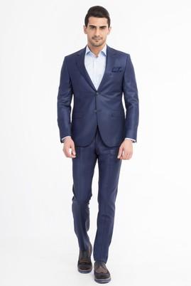Erkek Giyim - Mavi 52 Beden Slim Fit Kuşgözü Takım Elbise