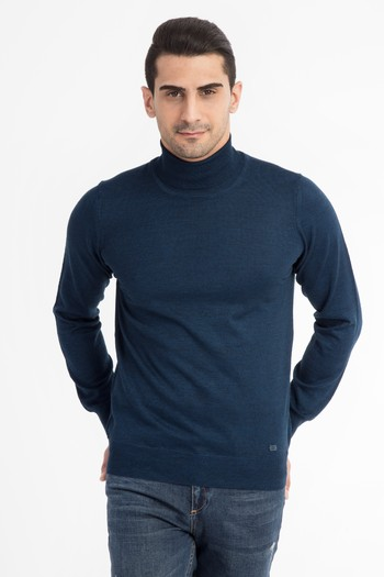 Erkek Giyim - Balıkçı Yaka Yünlü Triko Kazak