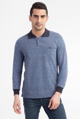 Erkek Giyim - Mavi XXL Beden Polo Yaka Düğmeli Sweatshirt