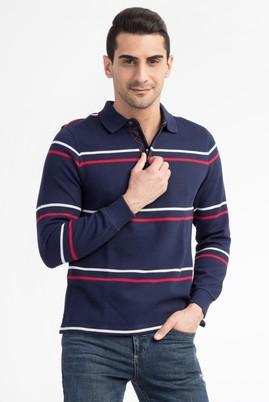 Erkek Giyim - Lacivert XXL Beden Polo Yaka Regular Fit Sweatshirt
